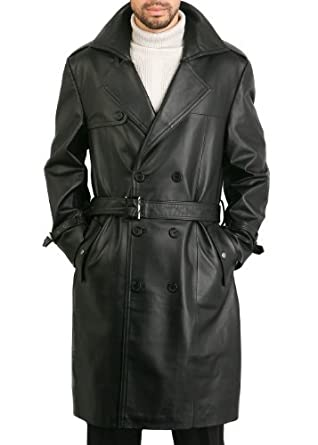 "BGSD Men's ""Xander"" Classic Leather Long Trench Coat - Black L"