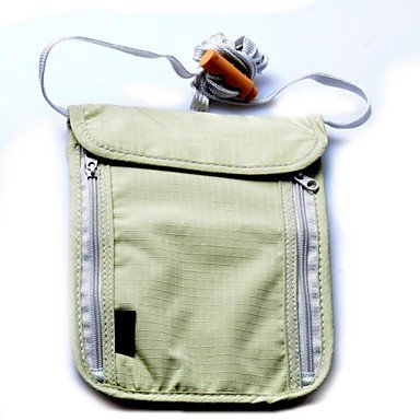 Zcl4882 Travel Camping Passport Neck Stash Security Pouch Wallet-Light Gray , Light Grey