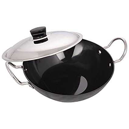 Keen Pan Hard Anodized Kadhai With SS Lid (24 Cm)