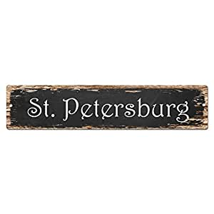 St petersburg sign vintage rustic street sign for Bar decor amazon