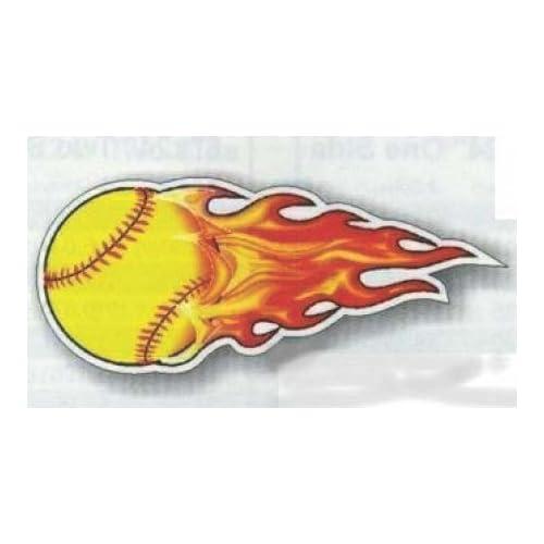 "Flaming Softball Temporary Tattoos 4"" x 2"" Set of 12 Allstar Baseball"