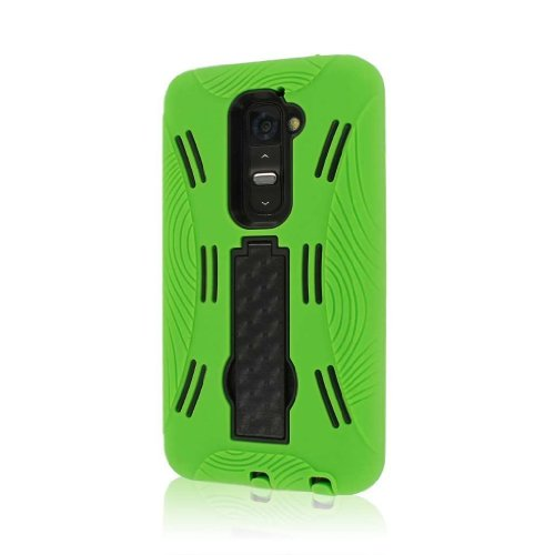 Mpero Impact Xl Series Kickstand Case For Lg G2 D800 D801 Ls980 - Neon Green (Not Compatible With Verizon / International Model)