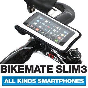 [正規品] BIKEMATE SLIM3 自転車用 スマートフォン ホルダー iPhone 5・4S・4・3GS, Galaxy S3・S2・S・NOTE・NOTE 2 マルチケース (白, L)
