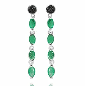 De Buman Sterling Silver Genuine Emerald and Black Diamond Earrings