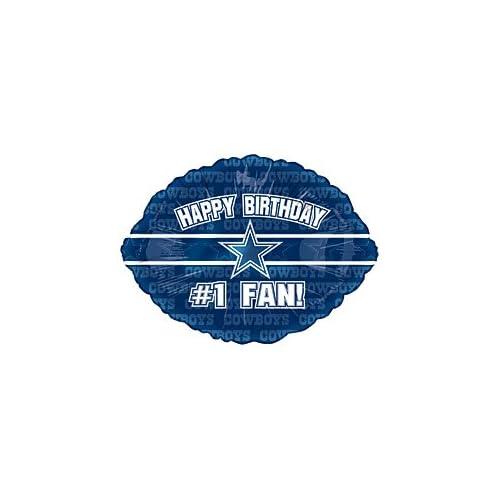 """Birthday #1 Fan!"""" Dallas Cowboys NFL Football Logo 18"""" Balloon Mylar"""
