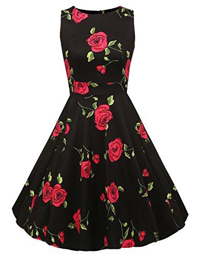 ACEVOG Vintage 1950's Floral Spring Garden Party Picnic Dress Party Cocktail Dress (L, Black Rose)