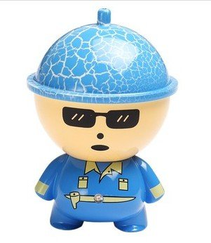 Big Head Cartoon Doll Car Charger 2.1A For Apple Iphone 6 5S 5C 5, Ipad Air Mini, Galaxy S5 S4 S3, Note 3 2, Lg G3, Camera Battery Charger, Htc One M8, Ps Vita, Moto X, And More- Blue