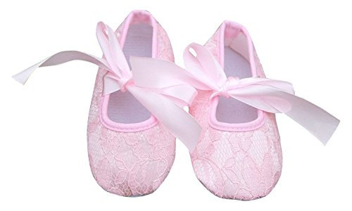 PinkXenia Baby Girl LightPink soft sole silk lace ribbon antiskid shoes