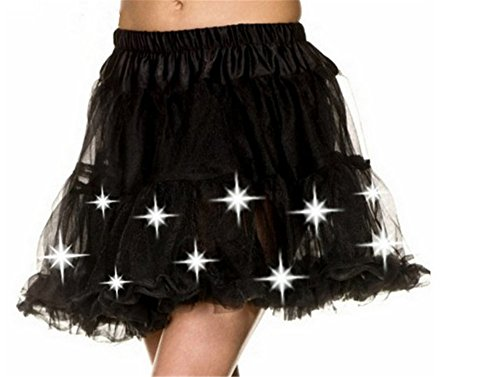 [Whiteus Led Light Up Tutu Elastic Waist Skirt for Costume Party, Birthdays( Black )] (Light Up Black Tutu)