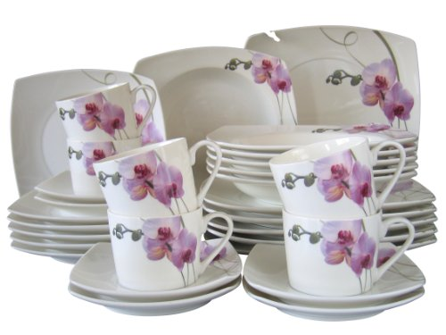 Creatable 30-Piece Dinner Set, New Bone China Orchidee