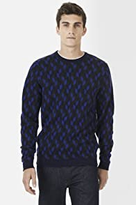 Merino Wool Jacquard Pattern V-Neck Sweater