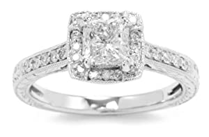 Kobelli 1 1/5 cttw Round and Princess-Cut Diamond Engagement Ring, Size 6