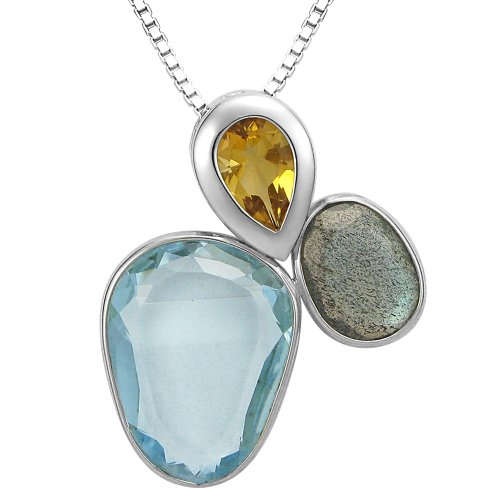 Sterling Silver Multi-stone Cluster Pendant Necklace, 18