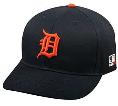 "Detroit Tigers Cap ADULT ""ORANGE D"" (New CF2 Visor Curved or Flat) Adjustable Hat MLB Officially Licensed Major League Baseball Replica"