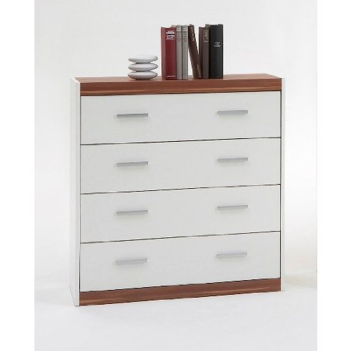 LILLE I Modern Chest Storage Unit with 4 Drawers in White and Walnut Trim - by DMF