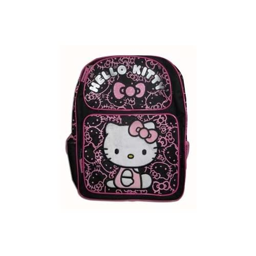 Sanrio Hello Kitty Large Backpack   Black with Pink Glitter