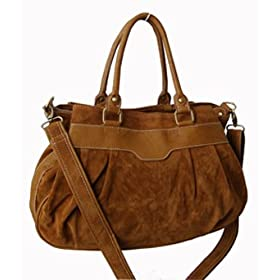 Suede Feel Brown Large Satchel/Handbag - Free Shipping