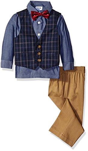 Izod Baby Plaid Vest Set with Bow Tie, Dark Blue, 18 Months