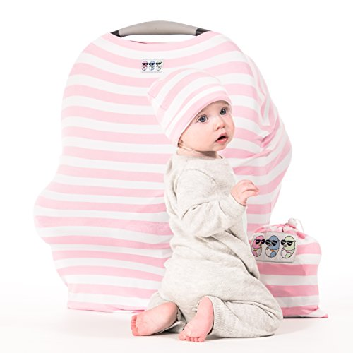 Cool Beans Baby Stretchy Car Seat Canopy - 5 in 1 Multi-use Cover for Infant Boys and Girls (Pink and White) (Jj Cold Car Seat Cover compare prices)