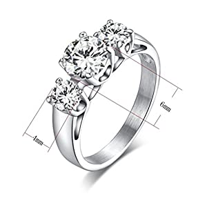 Womens Stainless Steel Engagement Ring Tri-Cubic Zirconia Crystal Jewelry,6mm width,Size 5 by Vnox Jewelry