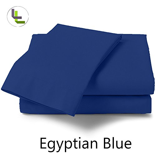 Bed Bee Short Queen 300Tc Wonderful 1Pcs Waterbed Fitted Sheet Solid(Pocket Size: 28 Inches) Egyptian Blue Solid 100% Egyptian Cotton front-817852