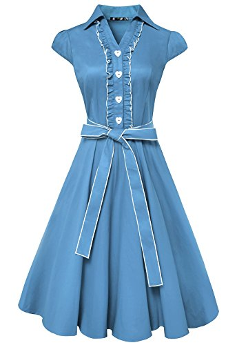Anni Coco® Women's 1950s Cap Sleeve Swing Vintage Party Dresses Sky Blue Small
