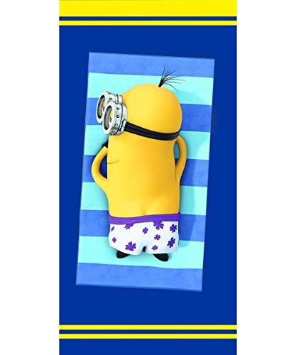 """Minions, Asciugamano da bagno """"Minion"""", 100% velluto di cotone, 75 x 150 cm, Blu (Blau)"""