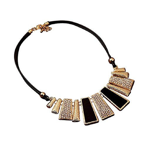 Doinshop Cute Nice Fashion Design Beads Enamel Bib Leather Braided Rope Chain Necklace (Black)