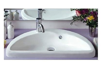 China Mezza Luna Half Circle Bathroom Sink with Overflow