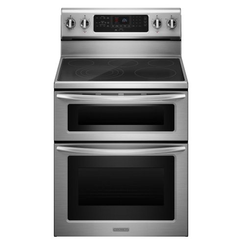 Kitchenaid KERS505XSS 30-Inch, 5-Element Freestanding Double Oven Range with Even-Heat Convection