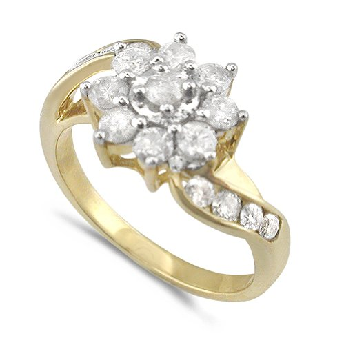 9ct Yellow Gold Ladies 1ct Diamond Cluster Ring with Channel Set Shoulders - Size O