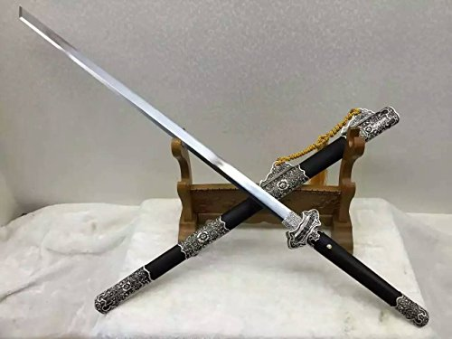 """Chinese sword/Tang dao/High manganese steel blade/Black wood scabbard/Alloy Knife fitted/Full tang/Length 41"""""""