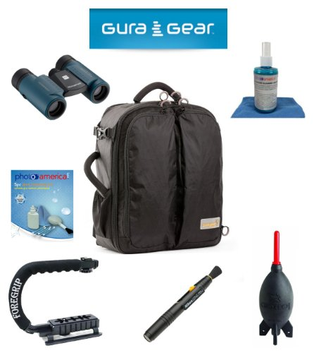 Gura Gear Kiboko 22L+ Backpack (Black) For Canon Eos 1D X, 1D Mark Iii, 1D Mark Ii N, 1D Mark Ii, 1D + Foregrip + Nikon Lens Pen Cleaning System + Giotto'S Air Blower + Cleaning Kit + Olympus Waterproof Binoculars