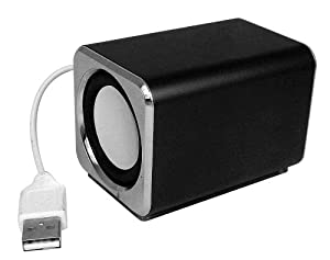 Ricco MD3 MINI DSP 2.0 CHANNEL Ultra Light Aluminium USB Portable Travel Speaker For Laptop Desktop MAC Computer Netbook ---(Built-in DSP USB Sound Card, NO messy 3.5mm audio line-in cable is required any more.) (1xBLACK)