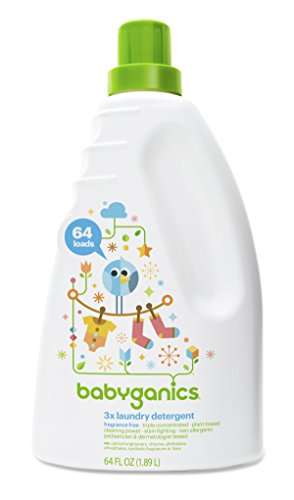 Babyganics 3x Baby Laundry Detergent, Fragrance Free, 64oz Bottle