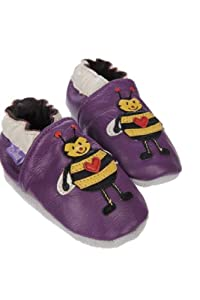 Pre Shoes - Zapatos de bebé (piel, 6-12 meses), diseño de abeja, color morado en BebeHogar.com