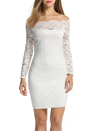 ACEVOG Women's Off Shoulder Lace Dress Long Sleeve Bodycon Casual Dresses (Small, White)