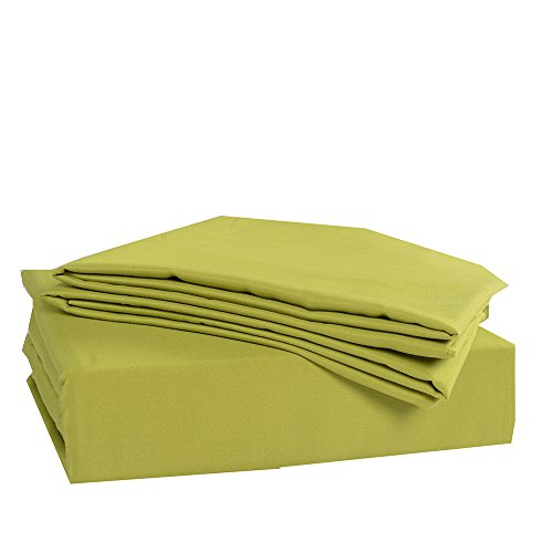 Honeymoon-1500T-Solid-Brushed-Microfiber-3PC-bed-sheet-set-Sheet-Pillowcase-Sets-Twin-Olive
