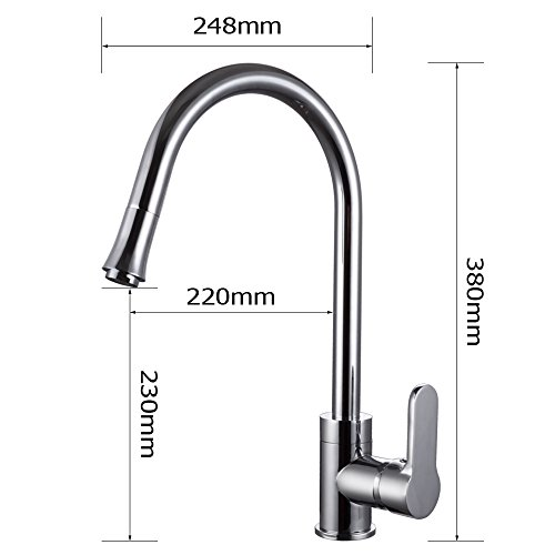 Kes L6911 Brass Singel Lever High Arc Pull Down Kitchen Faucet With Retractable Pull Out Wand