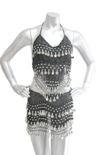 2-piece Sexy Belly Dancing Hip Scarf and Top Costume - Black with Silver Coins