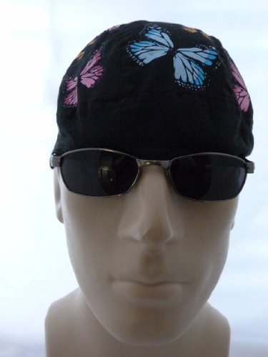 Butterfly Head Wrap/ Medical Cap/ Skull Cap/ Biker Cap/Doo Du Rag, Be Happy Head Wraps, Scrub Cap, Girls/ Ladies/ Womens Butterflies Novelty Head Wraps, Festive and Fun Black with Pink, Light Sky Blue, Yellow, and Orange Colors, Breathable Thin Lightwieght 100% Cotton, One Size to Fit Most Men, Women and Teens, Suitable for Athletes, Welding, Medical and Healthcare Professionals, Bikers, Truckers, Painters and Food Workers to Keep Hair Out of Face