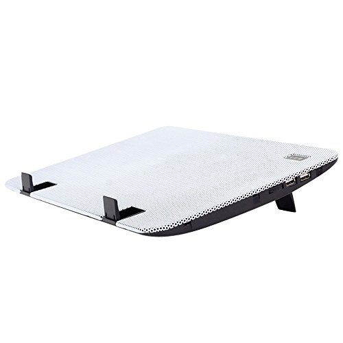 Alxcio Ultra-schlank Laptop Cooling Pad 11-15.6 Zoll USB Powered Notebook Cooler Gaming Fellow CPU-Kühler mit 2 Lüfter und Dual USB Port, Windgeschwindigkeit und Leiser Betrieb Ultra-portable Heizkörper, Weiß
