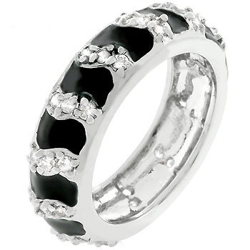 White Gold Rhodium Bonded Jet Black Enamel Ring with Handset Prong Cz in Eternity Style in Silvertone Women's Ring (9)