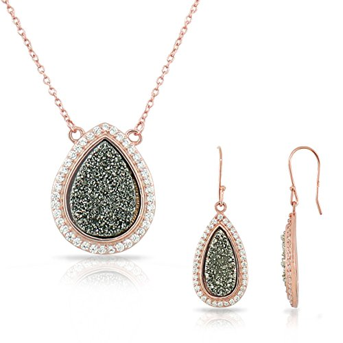 Sterling Silver Rose Gold-Tone Drusy Quartz Crystals Cz Teardrop Womens Necklace Drop Dangle Earrings Jewelry Set