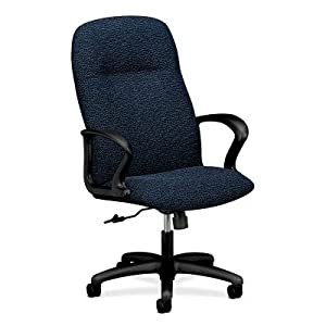 High Back Office Chair With Arms Fabric Navy Office Products