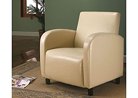 BEIGE LEATHER-LOOK ACCENT CHAIR (SIZE: 27L X 28W X 33H)