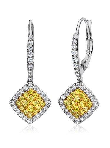 Bouquet 1 Carat TW Fancy Intense Yellow Diamond/18K White Gold Earrings