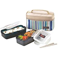 Lock&Lock Rectangular Lunch Box Set with Leak Proof Locking Lids, 2-Pieces, Blue