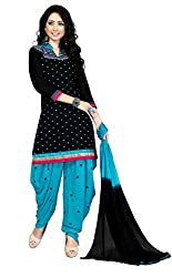 Justkartit Women's Unstitched Black & Blue Colour Mirror Embroidery Work Patiala Salwar Kameez / Casual Daily Wear Patiyala Salwar Suit / Beautiful Embroidery Patiala Dress material (Ramzan July 2016 Launch)