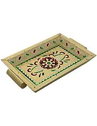 PMK Wooden Serware Tray 12X7 Inch, Tea Or Coffee Serving Tray, Adorable Gold Color Meenakari Work Tray.